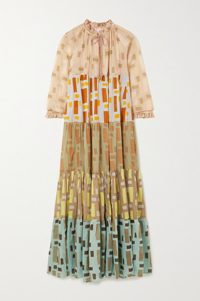 Thumbnail for your product : Yvonne S Hippy Tiered Printed Cotton-voile Maxi Dress - Mustard