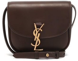 Saint Laurent Kaia Small plaque Leather Cross-body Bag - Brown