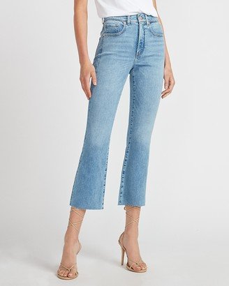 Express High Waisted Raw Hem Cropped Flare Jeans