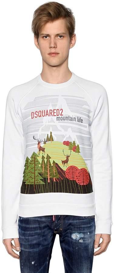 DSQUARED2 Mountain Print Cotton Jersey Sweatshirt