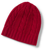 Classic Women's Cashmere Cable Hat-Gray Heather Stripe