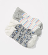 LOFT Elephant & Stripe No Show Sock Set