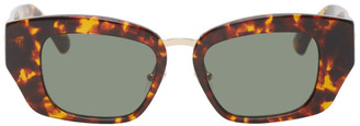 Dries Van Noten Tortoiseshell Linda Farrow Edition Rectangular Sunglasses