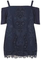 Evans Live Unlimited Embroidered Bardot Top