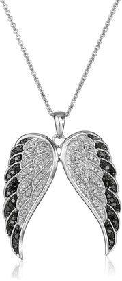 """Amazon Collection Sterling Silver Black and White Diamond Angel Wings Pendant Necklace (1/2 cttw) 18"""""""