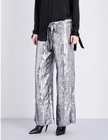 Sharon Wauchob Metallic-finish wide mid-rise silk trousers