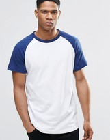 Pull&bear T-shirt With Raglan Sleeve In Blue