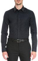 Givenchy Perforated Collar Long-Sleeve Shirt, Black