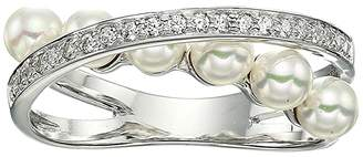 Majorica Eternity Rings 4 mm White Pearls CZ Sterling Silver Ring (White) Ring