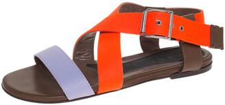 Marni Lavender/Neon Orange Criss Cross Flat Sandals Size 36.5
