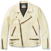 Blackmeans Slim-fit Distressed Leather Biker Jacket - Cream