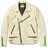 Blackmeans Slim-fit Distressed Leather Biker Jacket