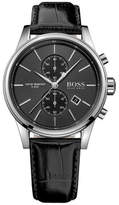 Hugo Boss Black Boss Mens Rnd Blk Chrono Blk Leather Strap