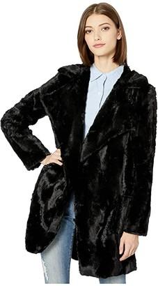 BB Dakota Shear Factor Swirl Faux Fur Coat (Black) Women's Coat