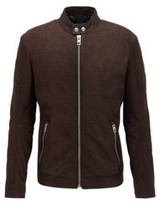 Boss Leather jacket with quilted panels and zipped cuffs