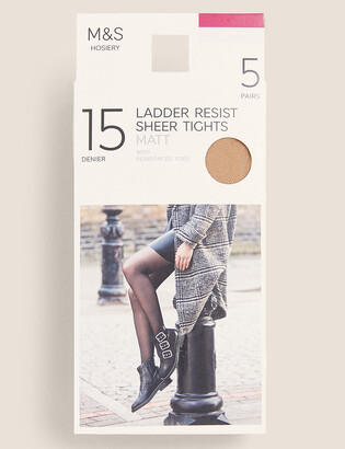 Marks and Spencer 5 Pair Pack 15 Denier Ladder Resist Matt Tights