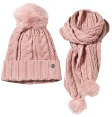 Mayoral Nude Pink Faux Fur Pom Pom Knitted Hat and Scarf Set