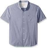 Original Penguin Men's Short Sleeve Gingham Shirt with Button Down Collar