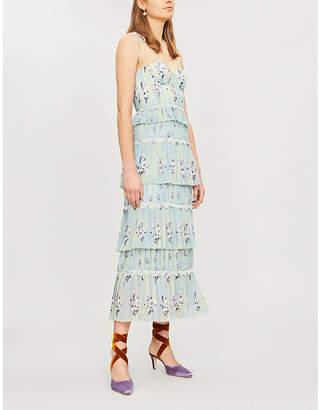 Self-Portrait Tiered floral-lace chiffon midi dress