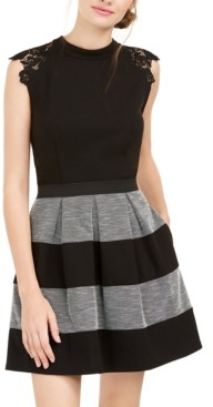 Speechless Juniors' Lace-Trim Striped Fit & Flare Dress, Created for Macy's