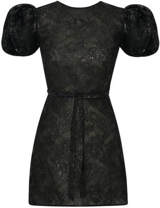 The Vampire's Wife Scoop Dog Puffed-Sleeve Jacquard Mini Dress