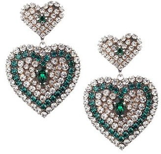 Dannijo Amo Green & White Glass Crystal Heart Drop Earrings