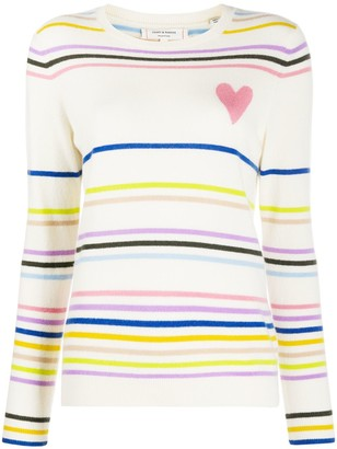Chinti and Parker Heart Striped Cashmere Jumper