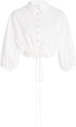Cara Hutton Cropped Cotton-Poplin Drawstring Top