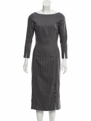 Lela Rose 2019 Striped Midi Dress Grey