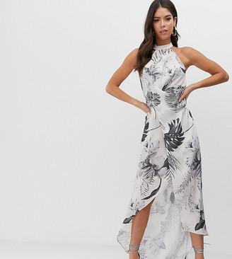 Asos Tall DESIGN Tall high neck satin twill maxi dress in tonal palm print-Multi