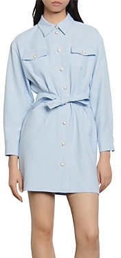 Sandro Estel Mini Belted Shirt Dress
