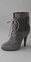 Fringe Lace Up Suede Booties