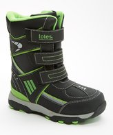 totes Kids Apex Boot, Black & Lime Green, 11