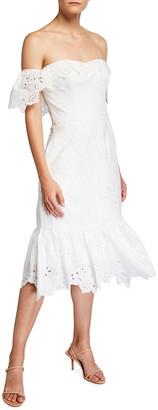 Marchesa Notte Off-the-Shoulder Chandelier Eyelet Ruffle Dress
