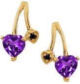 Gem Stone King 0.81 Ct Heart Shape Purple Amethyst and Diamond 18k Yellow Gold Earrings