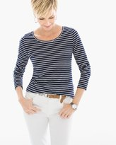 Chico's Cozy Stripe Slub Tee