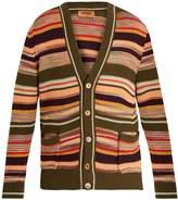 Missoni V-neck striped honeycomb-knit cotton cardigan