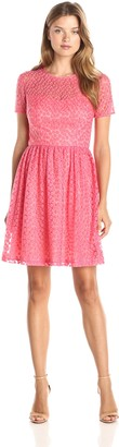 Trina Turk Trina Women's Paris Embroidered Daisy Mesh Fit N Flare Dress
