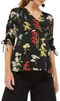 Topshop Women's Floral Ruched Sleeve Wrap Maternity Blouse