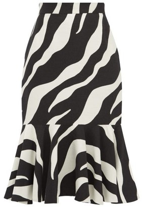 Elzinga - Zebra-jacquard Peplum-hem Midi Skirt - Black White