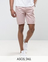 Asos Tall Slim Chino Shorts In Light Pink