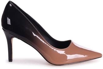 Linzi FAIRGROUND - Mocha Multi Ombre Patent Classic Pointed Court Shoe with Stiletto Heel