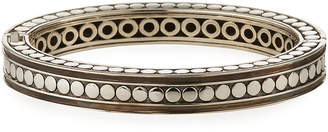 John Hardy Dot Silver Small Oval Hinged Bangle w/ Black Spinel, Size M
