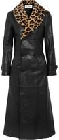 Saint Laurent Leopard-print Shearling-trimmed Leather Coat - Black