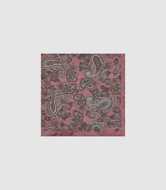 Reiss Morocco - Silk Paisley Printed Pocket Square in Pink