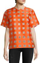 MSGM Women's Check Short-Sleeve Sweater