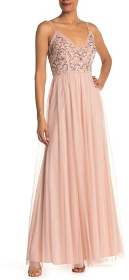 Jump Embellished Bead & Sequin Tulle Gown
