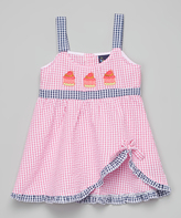 Sweet & Soft Pink Seersucker Cupcake Dress - Kids