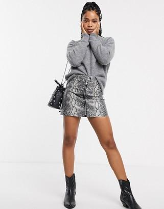 AllSaints lena oba snake print zip front mini skirt