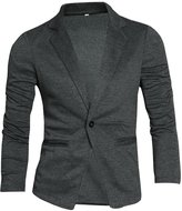 uxcell Allegra K Men Notched Lapel Welt Pocket Casual One-Button Blazer Grey L